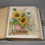 SALE Large Victorian Photo Album, Floral Chromolithograph Pages