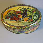 SALE Lovely Small Oval European Biscuit Tin, Fruit & Wine