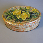 Small Vintage European Cocoa Powder Tin, Yellow Roses
