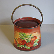SALE Vintage French Jelly/Jam Tin Strawberries & Apples