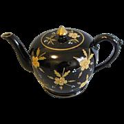 Vintage English Teapot, Black with Enamel/Gilt Decoration