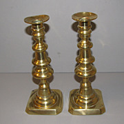 SALE Vintage English Brass Candlesticks, Push-up