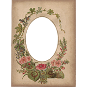 SALE Lovely Floral Page from Victorian Photograph Album, Cabinet Photo Opening