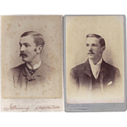 SALE Pair of Cabinet Photographs, Young Men, Mustaches