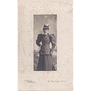 SALE Detailed Photograph of Victorian Lady in Tailored Suit