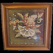 REDUCED Lovely Victorian Beaded Needlepoint, Framed
