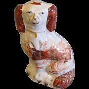 19th Century Red & White Staffordshire Dog, Miniature