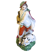 Small Staffordshire Figure, Boy with Dog & Goose