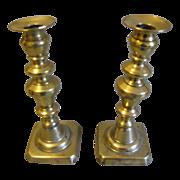 Vintage Pair of English Brass Candlesticks