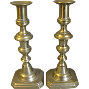 Lovely Pair of English Brass Candlesticks