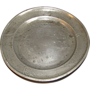 REDUCED Most Unusual Pewter Plate, Landscape, Oriental Mark