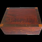 REDUCED Antique Mahogany Writing or Sewing Box, Inlay