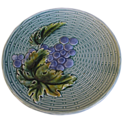 SALE Lovely Turquoise Blue Majolica Plate, Grapes