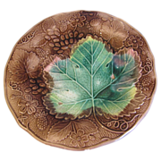 Lovely Brown & Green Majolica Plate, Grapes & Strawberries