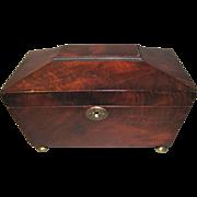 SALE Antique 3-Compartment Mahogany Tea Caddy