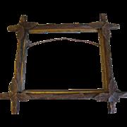 SALE Vintage Wooden Photo Frame, Criss-Cross Corners