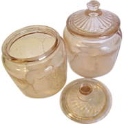 SALE Pink Depression Glass Dresser Jars (2)