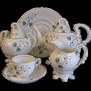 SALE Early 1800's English Tea Set, Sprig Decoration