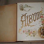 SALE Lovely Victorian Celluloid Cover Photograph Album, Floral Pages