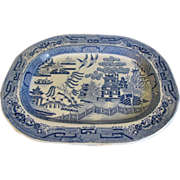 SALE Antique Blue Willow Platter, English