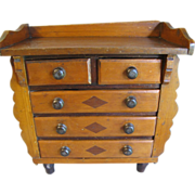 REDUCED Antique Folk Art Wood Collector's Cabinet, Chest