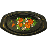 SALE Lovely Colorful Vintage Russian Tole Tray, Floral