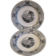 SOLD Lovely Pair of Small Gray Romantic Transferware Plates