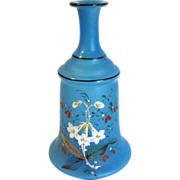 SALE Small Blue Bristol Glass Perfume Decanter, Vase