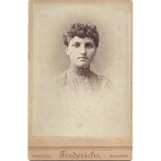 SALE Cabinet Photograph Card of Young Woman, Frederichs