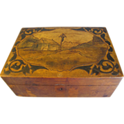 SALE Antique Walnut Box, Vintage Wood-Burned Modification