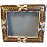 SALE Unusual Antique Tramp Art Frame, Painted