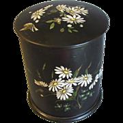 Tall Black Papier Mache Powder Box, Daisies, Bird, & Butterflies