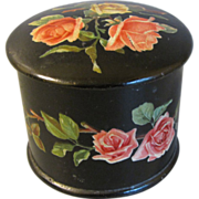 SALE Victorian Papier Mache Powder Box w/ Pink Roses