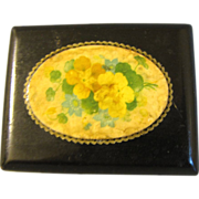 SALE Tiny Black Lacquer Victorian Box, Floral Design