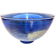 Gorgeous Blue Art Glass Bowl Kosta Boda B. Vallien