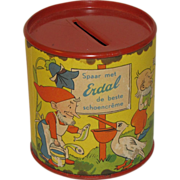 SALE Small Erdal Chocolate Creme Tin Bank, Nursery Rhymes