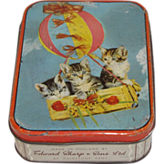 SALE Vintage Sharp's Candy Tin, # Kittens in Basket of Air Balloon