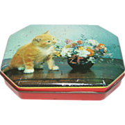 SALE Small Vintage Candy Tin, Unmarked, Kitten & Flowers