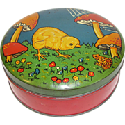 SALE Adorable Vintage Biscuit Tin Chick, Frog, Mushrooms