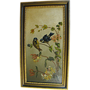 Gorgeous Antique Oil Painting of Birds and Flowers. Framed