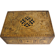 Lovely Antique Marquetry Sewing Box, Fitted