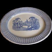 SALE Lovely Blue Transferware Platter, Romantic Landscape, Clementson