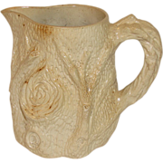 Large Earthenware Milk Pitcher, Very Early, Shaped like Tree Trunk