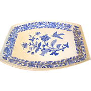 SALE Vintage Blue Printed Platter, Flowers and Bird