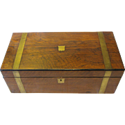 SALE Antique Campagne Style Wood Box with Brass Stapping