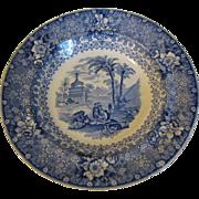 SALE Blue Transferware Soup Plate, Romantic Scene, PALESTINE, Bell