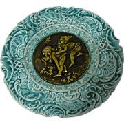 SALE Vintage Majolica Plate, Turquoise with brown-olive Center, Drqwfs