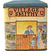 SALE Vintage Biscuit Tin, Unmarked, VILLAGE SMITHY