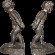SALE Lovely Pair of Cast Iron Cherub Bookends 1925 VERONA
