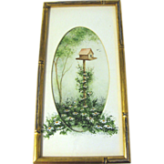 Decorative Framed and Matted Acrylic Painting of Daisies and Bird House